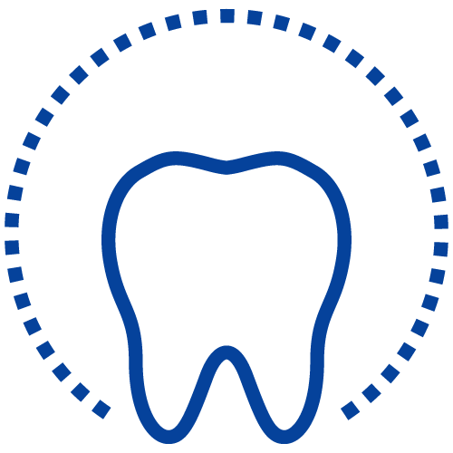 A tooth graphic to represent our difference of providing dentistry all under one roof.