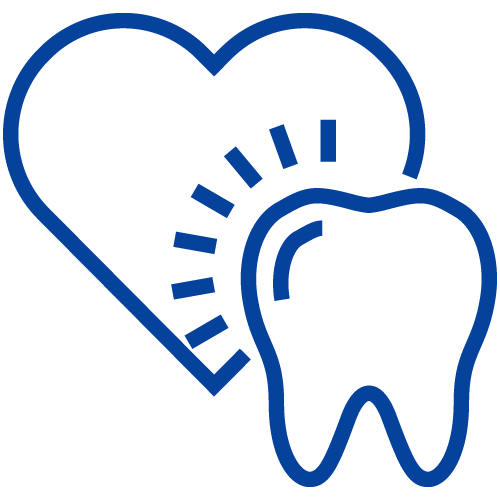 Tooth and a heart icon to represent we deliver dentistry with heart.