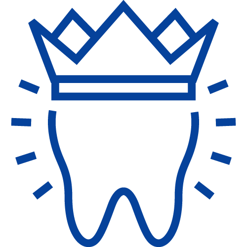 A tooth wearing a crown